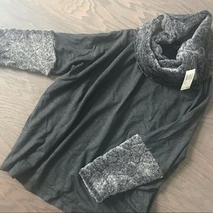 NWT Gray Faux Fur Cowl Neck Pullover Top